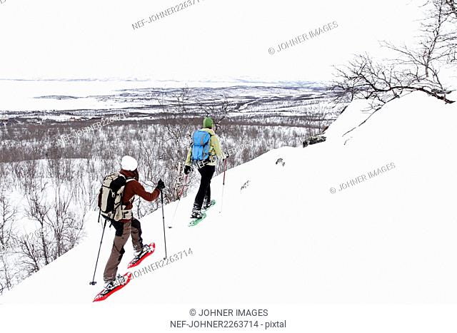 People snowshoeing in mountains