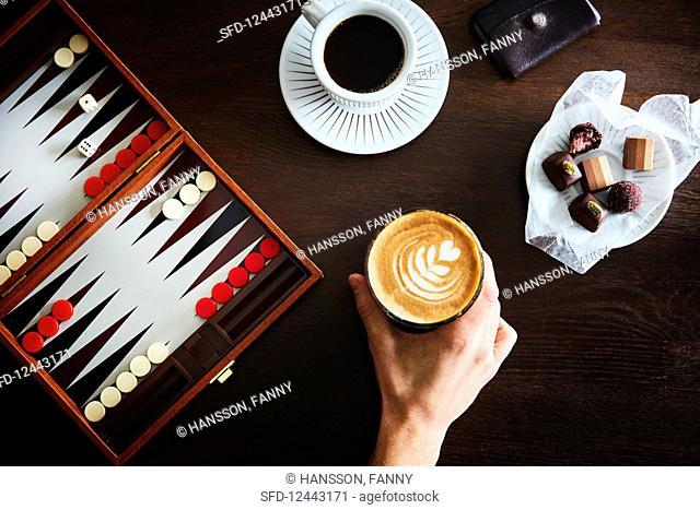 Cappuccino, espresso and chocolate