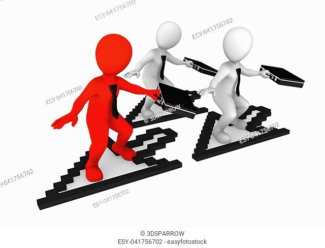 3d white small business people with mouse cursor