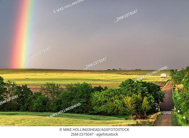 Rainbow shines over the countryside in northern Kansas