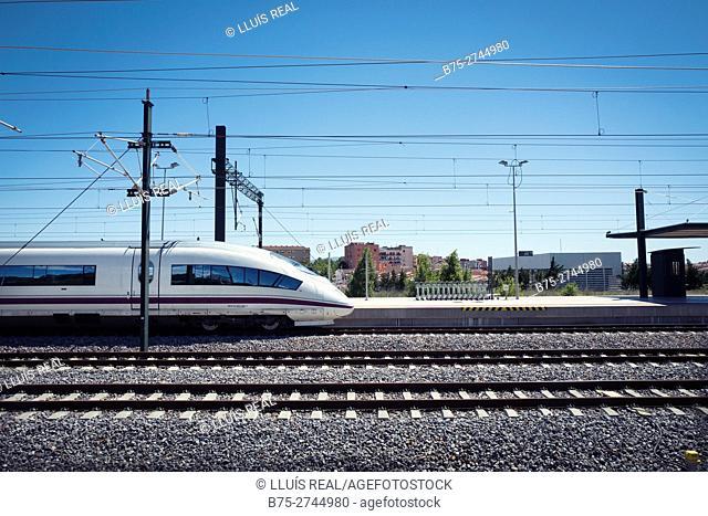 AVE high-speed train. Figueres-Vilafant railway station. Girona province, Catalonia, Spain