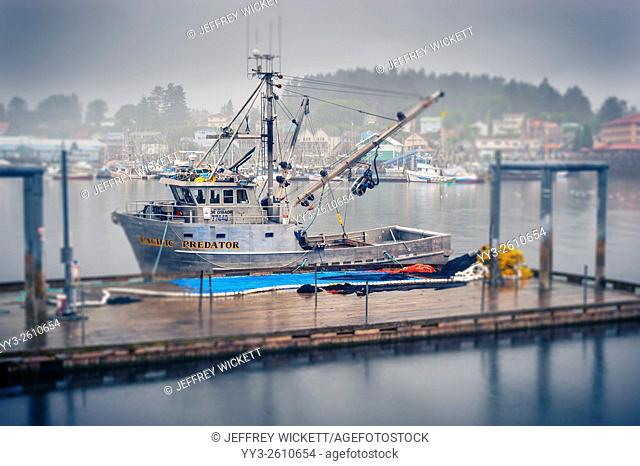 Purse seiner, Pacific Predator tied up at work platform in Sitka horbor in Sitka, Alaska, USA