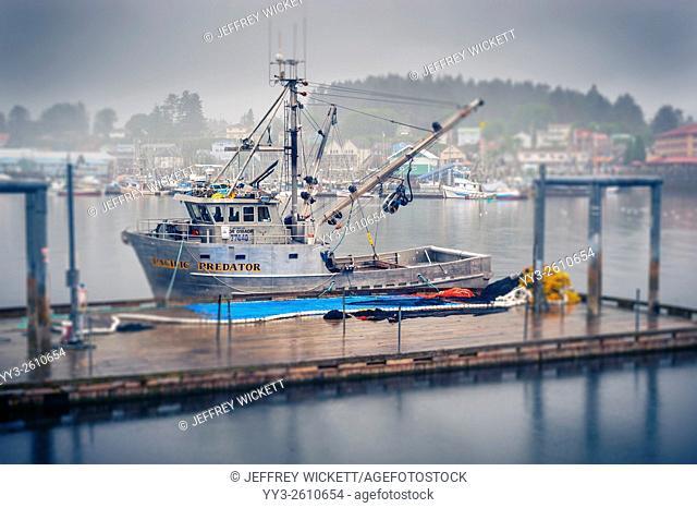 Purse seiner, Pacific Predator tied up at work platform in Sitka horbor in Sitka, Alaska, USA