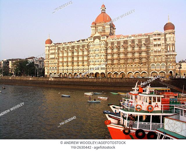 Taj Mahal Palace and Tower or Taj Mahal Hotel on waterfront Colaba Mumbai India