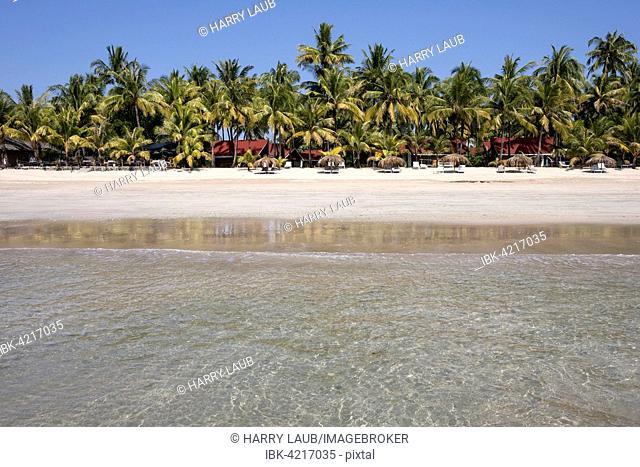 Sea, beach, palm trees, bungalows, Ngapali Beach, Ngapali, Thandwe, Rakhine State, Myanmar
