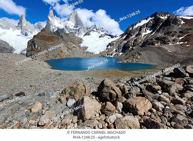 Mount Fitz Roy with Lago de los Tres near its summit in Patagonia, Argentina, South America