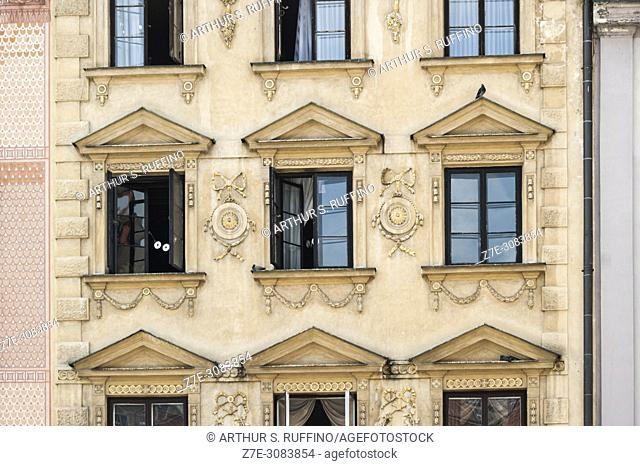 Old Town Market Place. Detail of architectural façades. Warsaw, Poland, Europe