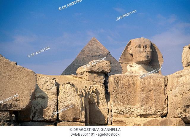 The pyramid of Chefren and the Sphinx (Unesco World Heritage List, 1979), Cairo, Egypt