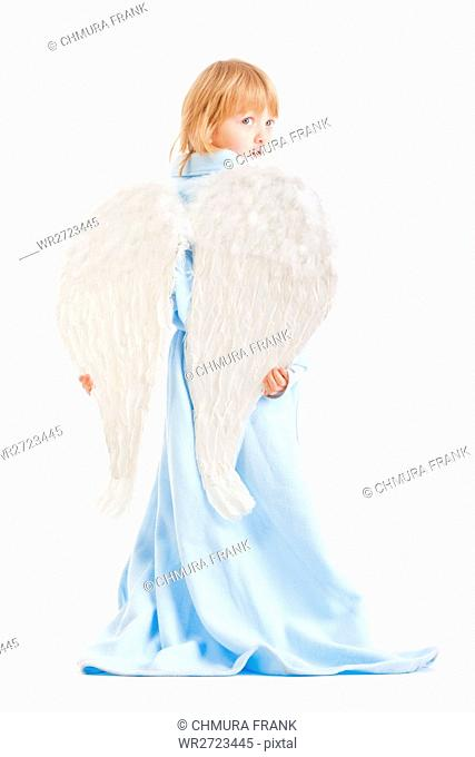 boy with long blond hair and angel wings - isolated on white