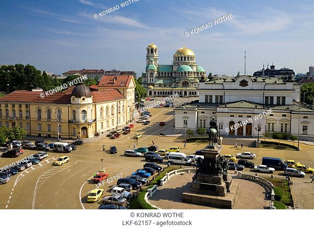 Narodno Sabranie Square, Saint Alexander Nevski Cathedral, Sofia, Bulgaria