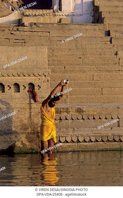 surya namaskar , ganga , varanasi , uttar pradesh , india