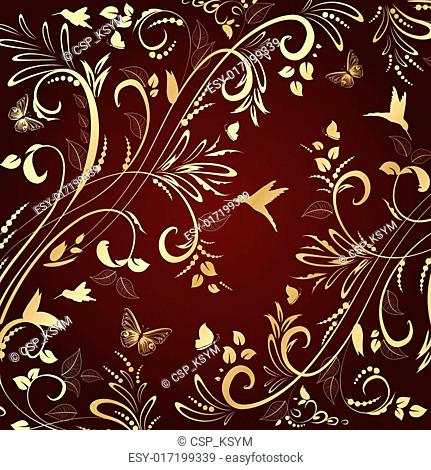 floral ornament gold for your design