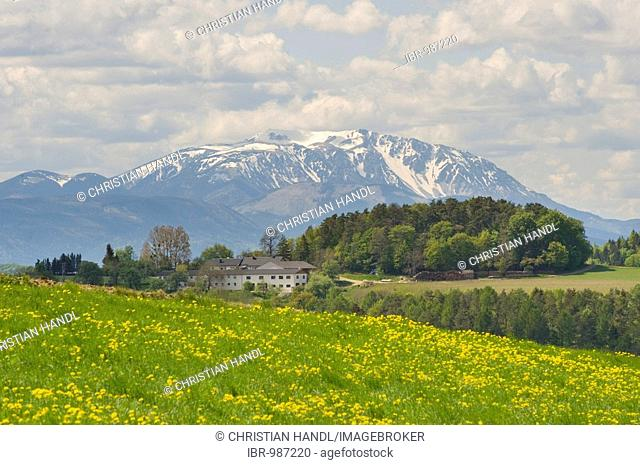 Farm in front of Schneeberg mountain, Bucklige Welt, Lower Austria, Austria, Europe