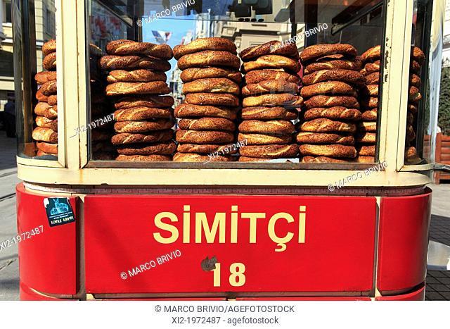 Turkish bread sold at a street stall in Istiklal Caddesi (street). Istanbul, Turkey