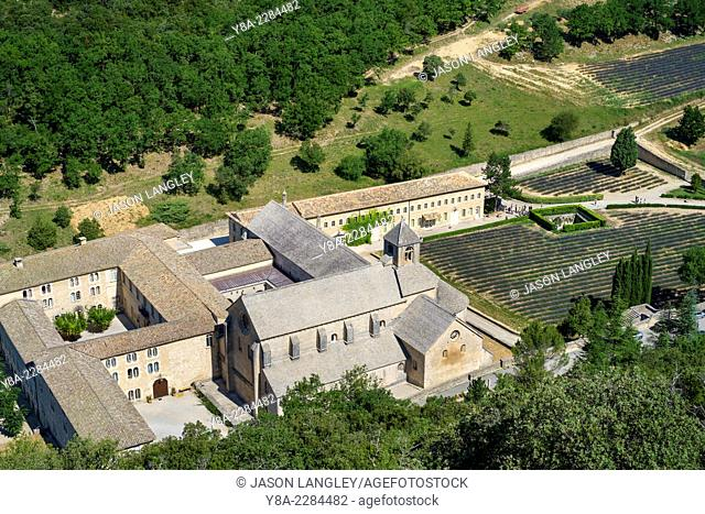 Aerial high angle view of Abbaye de Sénanque Abbey, Vaucluse, Provence-Alpes-Côte d'Azur, France