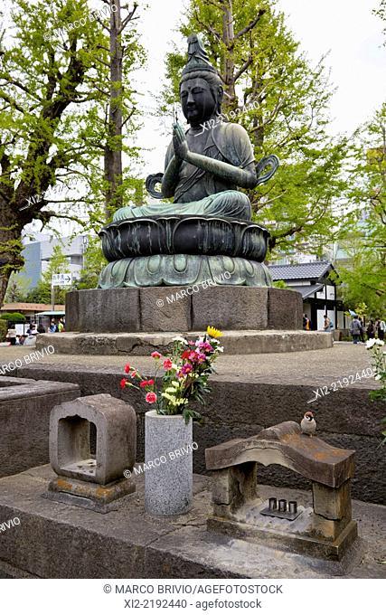 Buddha statue at Asakusa Senso-ji temple. Tokyo, Japan