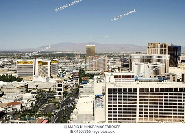 View from the Eiffel Tower of the Hotel Paris in Las Vegas, Nevada, USA