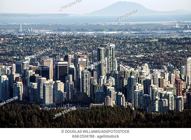 Downtown Vancouver, BC, Canada, from the viewpoint at Cypress Mountain, West Vancouver, BC, Canada