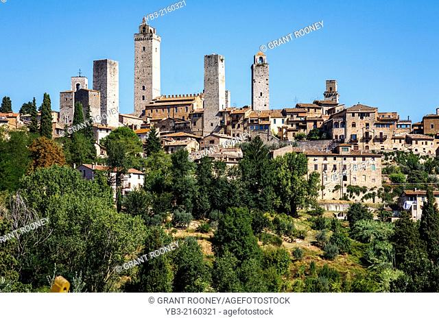 San Gimignano and Surrounding Countryside, Tuscany, Italy