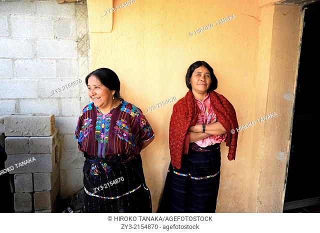 Maya Indigenous women in traditional clothing in Nahuala, Solola, Guatemala