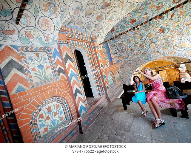 Tourists inside of St  Basil's Cathedral, Moscow, Russian Federation