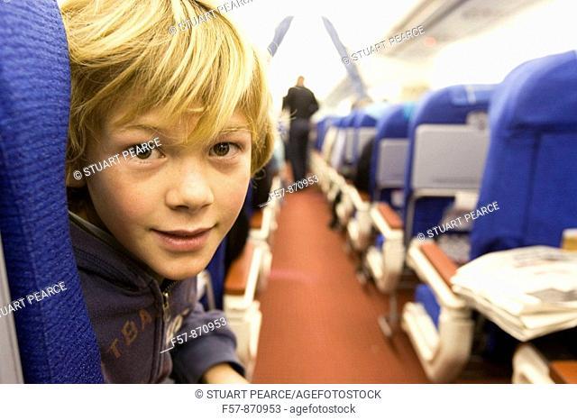 Boy on a 747 aircraft, Malaysia