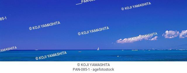 Ocean with Sailboat, Oahu, Hawaii, USA