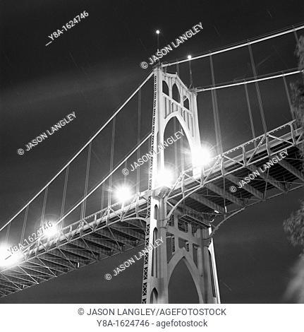 St  Johns Bridge at night, Cathedral Park, Portland, Oregon, United States