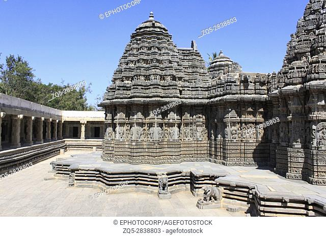 View from the rear of the temple, southwest corner, at Chennakesava temple, Hoysala Architecture at Somnathpur, Karnataka, India