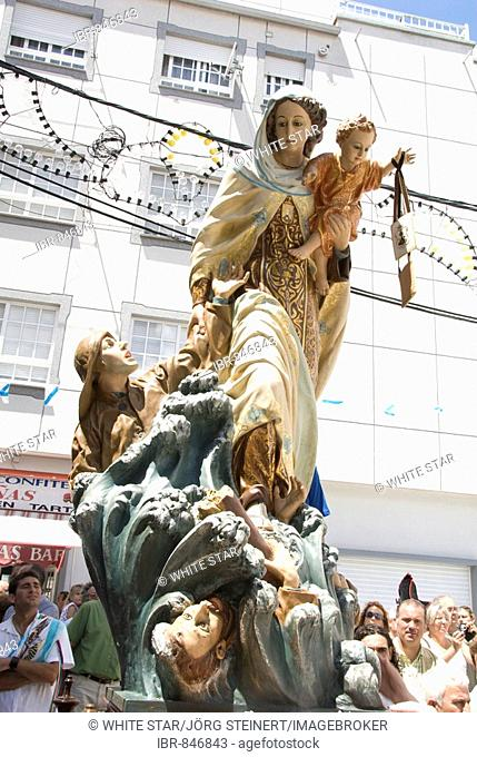 Virgin Mary and Child icon at the Fiesta del Virgen del Carmen, held yearly on July 15 in Camarinas, La Coruna, Galicia, Spain, Europe