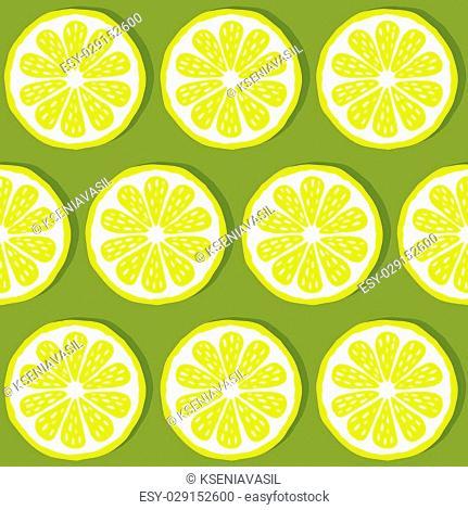 seamless pattern of lemons-vector illustration. Bright print texture lemon yellow. Natural bright lemon. Lemon wedges are symmetrical. Lemon fruit