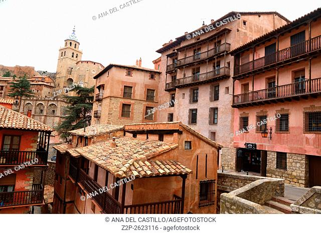 Albarracin medieval terracotte village in Teruel, Aragon, Spain. One of the Spain's most beautiful villages