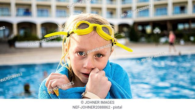 Portrait of girl at swimming-pool