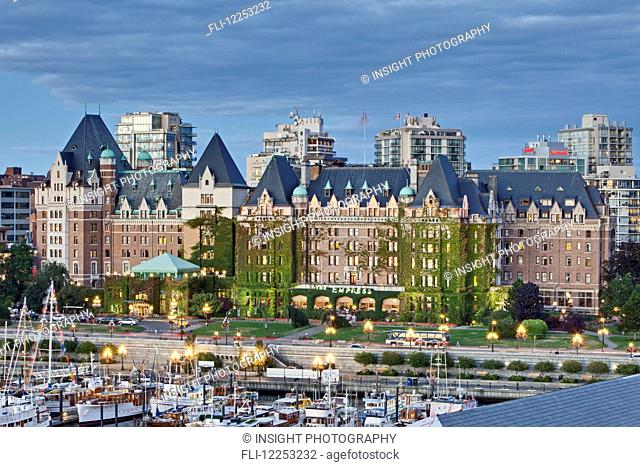 The Fairmont Empress hotel sits majestically at the cornerstone of Inner Harbour; Victoria, Vancouver Island, Canada