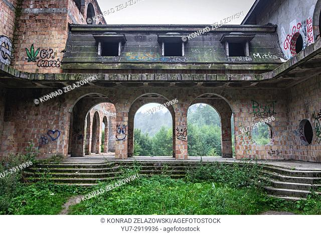Exterior of unfinished castle - unofficial tourist attraction in Lapalice village, Kashubia region in Poland. Building of castle began in 1979