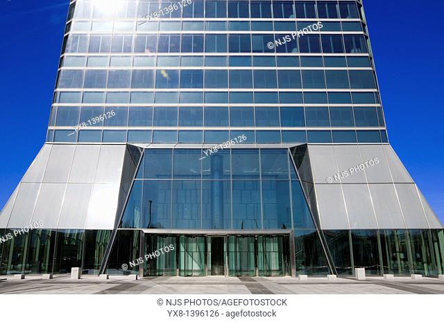 Entry of Crystal Tower, located in Cuatro Torres Business Area of Madrid, Comunidad de Madrid, Spain, Europe