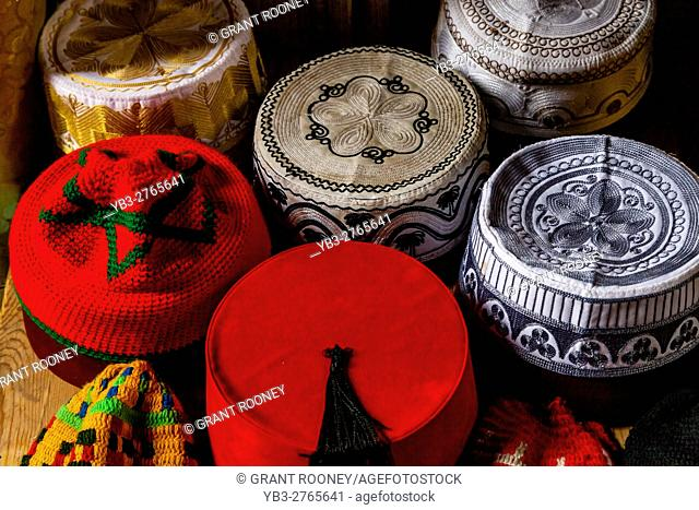 Traditional 'Fez' Hats For Sale In The Medina, Fez el Bali, Fez, Morocco
