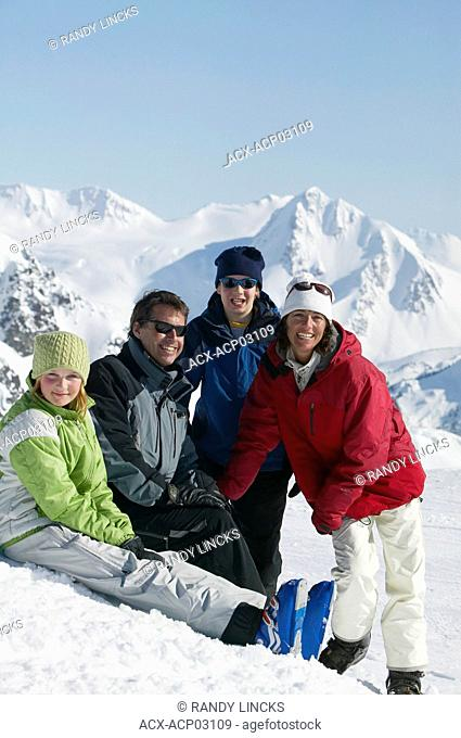 a family enjoying blackcomb mountain, british columbia, Canada