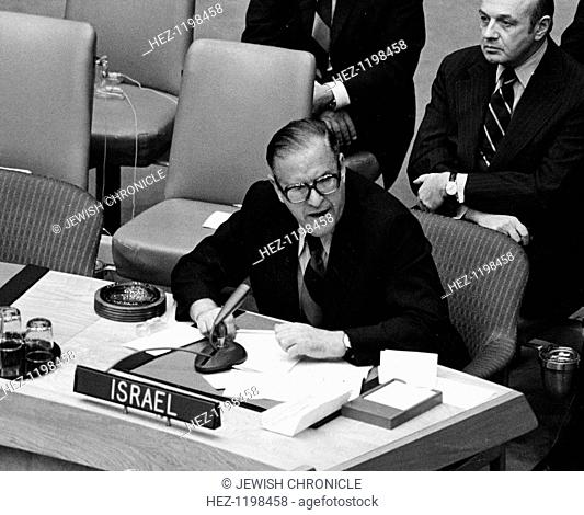 Abba Eban (1915-2002), Israeli Foreign Minister, 1973. The Security Council begins discussion of Middle East war