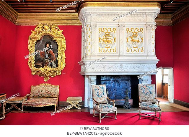 Interior of Chateau de Chenonceau France. This castle is located near the small village of Chenonceaux in the Loire Valley was built in the 15-16 centuries and...