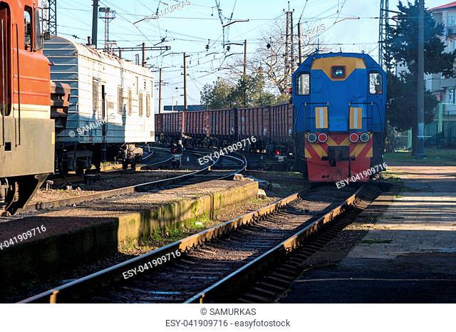 locomotive at the railway station, Poti, Georgia