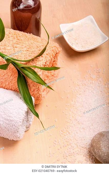 sea salt and towels for spa