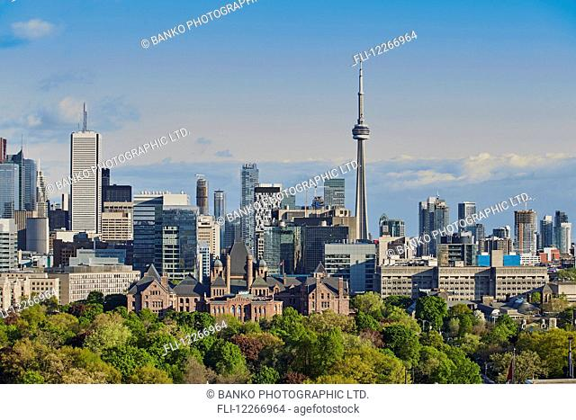 Leafy trees against city skyline; Toronto, Ontario, Canada
