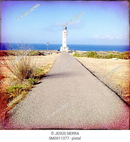 Barbaria Cape Lighthouse in formentera Balearic island in Mediterranean