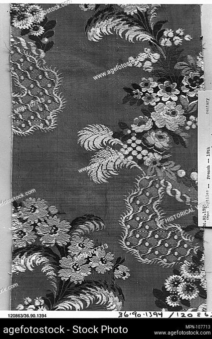 Piece. Date: 1750-60; Culture: French; Medium: Silk; Dimensions: L. 17 1/4 x W. 7 inches; Classification: Textiles-Woven; Credit Line: Gift of The United Piece...