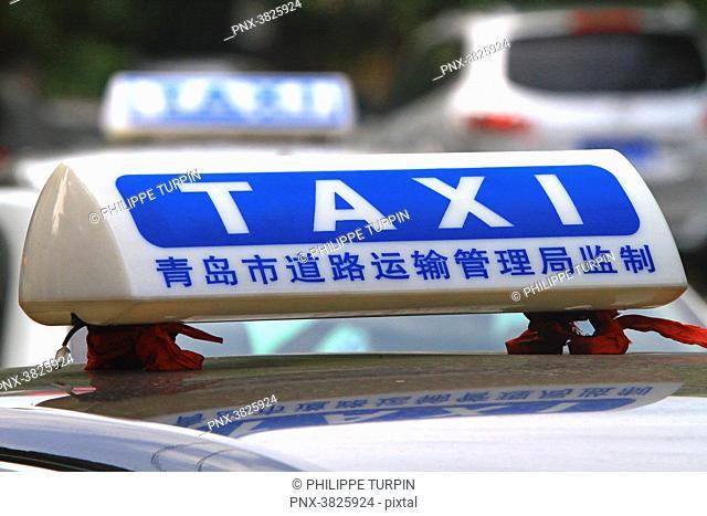 Asia, China, Shandong Province, Qingdao. Taxi