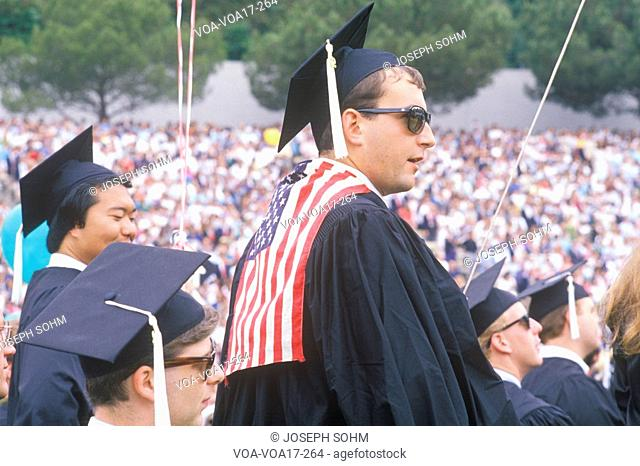 A patriotic UCLA graduate in Caps and Gowns, Los Angeles, California