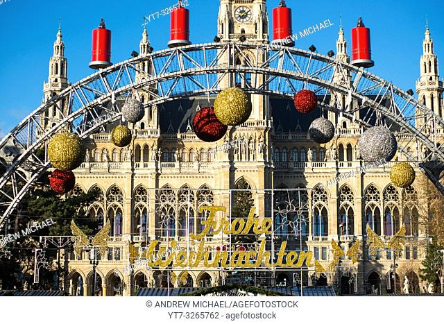 Christmas Market at Neues Rathaus (City Hall) building, Vienna, Austria