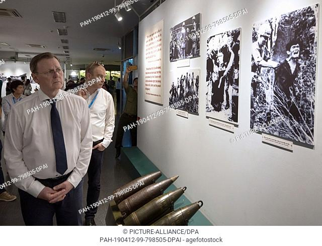 12 April 2019, Vietnam, Ho-Chi-Minh-Stadt: Bodo Ramelow (The Left), Prime Minister of Thuringia, visits the War Remnants Museum