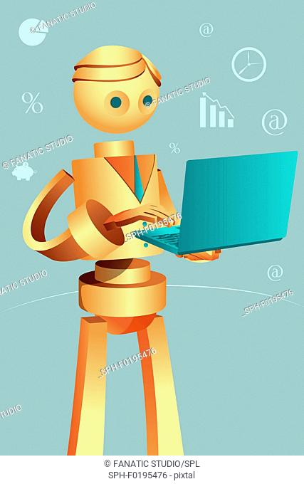 Illustration of robotic businessman using laptop